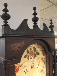 Grain-painted and Gilt Stencil-decorated Wooden Works Tall Clock